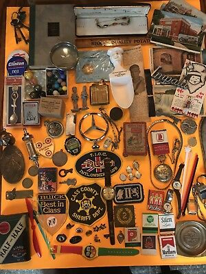 Vintage Junk Drawer Lot Gold, Lighters, Military, Watches, Post Cards, Marbles