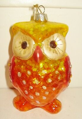 Vintage Usa Orange Art Glass Owl Figurine Ornament Beautiful Design Nr