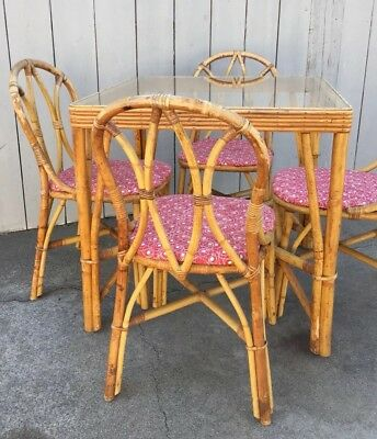Vintage Rattan Bamboo Dining Patio Set Table & 4 Four Chairs