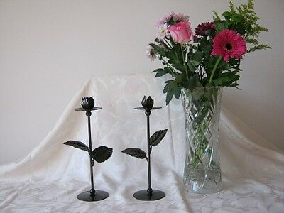 Pair of hand made wrought iron antique brass effect flower candle holders sticks