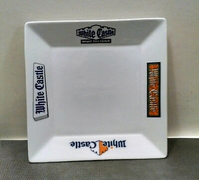 Medium Square Ceramic White Castle Restaurant Plate- Mint condition, Rare