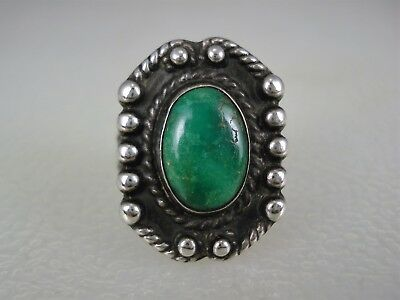 OLD Fred Harvey era STERLING SILVER & DEEP GREEN TURQUOISE RING size 6.25