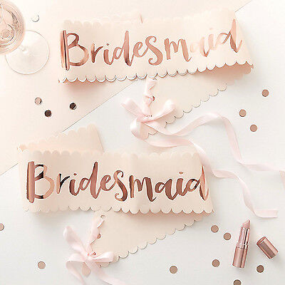 HEN PARTY Rose Gold BRIDESMAID SASH Quality Boxed Gift Team Bride Party Ribbon