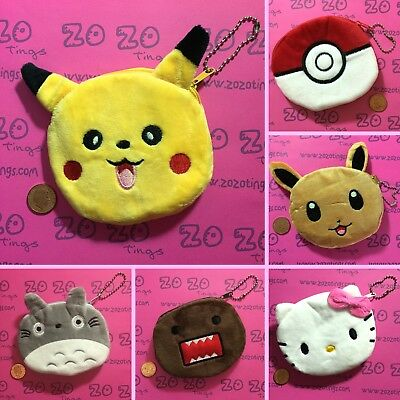 Cute Coin Purse (Pikachu Eevee Poke Ball Totoro Domo Hello Kitty)