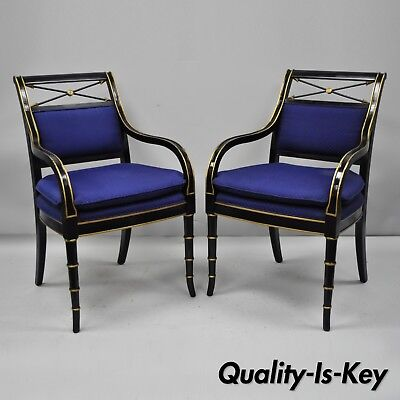Pair Black & Gold English Regency Style Arrow Back Armchairs Neoclassical Chair