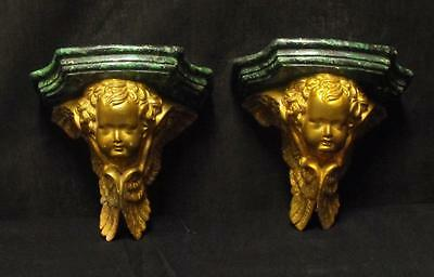 Vintage Pair of Decorative Plaster Cherubs Wall Shelves Faux Marble Nice