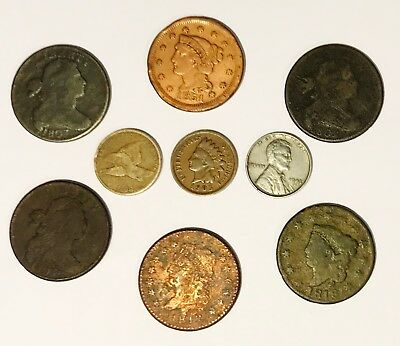 Run of U.S. Cents Draped Bust-Lincoln 1802, '03 (2) '12, '18, '51, '58, 1905,'43