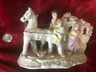 BONE CHINA LACE Horse carriage figures Victorian