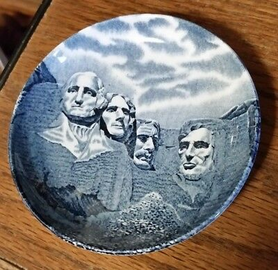 Vintage Small Mt. Rushmore Collector's Plate -Blue-Johnson Bros. England