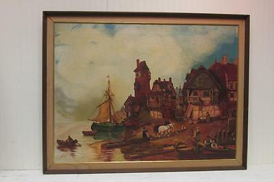 Interesting Decorative Oil/Canvas Painting of a Village and Harbor Signed/Dated