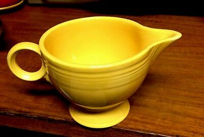 Vintage Fiesta Ware Footed Creamer Yellow Ring Handle