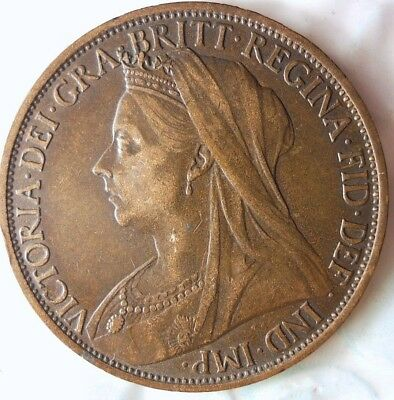 1896 GREAT BRITAIN PENNY - Excellent AU Quality - High Value Coin - Lot #115