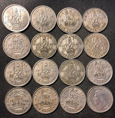 Vintage Great Britain Coin Lot - 16 SHILLINGS - KING GEORGE VI - Lot #115