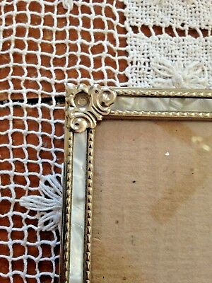 Vintage Faux Mother Of Pearl Inset Design Brass Picture Frame 5 X 7