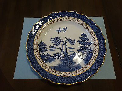"""Two (2) Booths Real Old Willow 9-7/8"""" Dinner Plates, A8025  Made In England"""