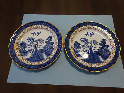 """Two (2) Booths Real Old Willow  6"""" Bread Plates A8025  Made In England"""