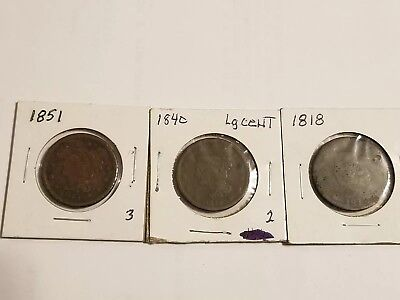 Lot of 3 Large Cent Copper Coins US  1818 1848 1851 One Cent