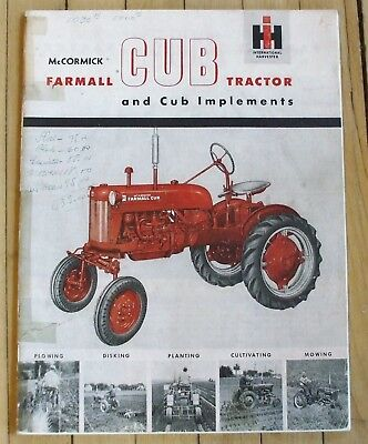 Original IH Farmall Cub Tractor and Implement Sales Catalog 23 Pages