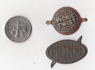 """Two Nice Examples Of """"pic Nic""""  Tin Tobacco Tags One Money"""