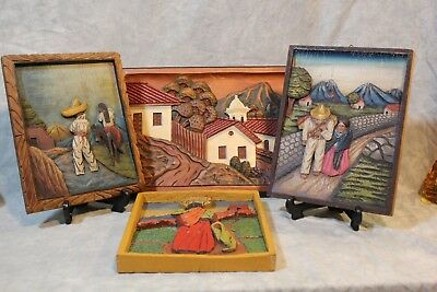 Four Mexican Bas Relief Wood Carvings Mexico Folk Art