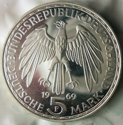1969 F GERMANY 5 MARKS - RARE PROOF  - Excellent Silver Crown Coin - Lot #115