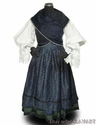 German folk costume XL blue embroidered skirt peasant blouse cotton apron shawl