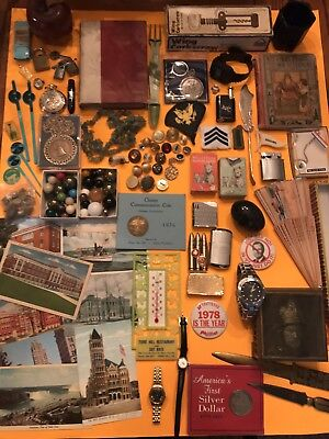 Vintage Junk Drawer Lot Lighters, Marbles , Post Cards , Advertising, Buttons