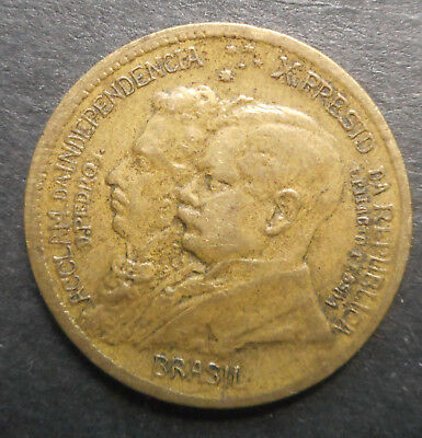 Brazil 1922 Centenary of Independence 500 Reis  Coin Nice better grade