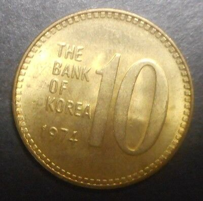 South Korea 1974 10 Won  coin Nice !! UNC