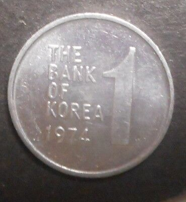 South Korea 1974 1 Won  coin Nice UNC