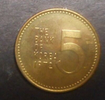 South Korea 1972 5 Won  coin Nice UNC  Turtle Ship