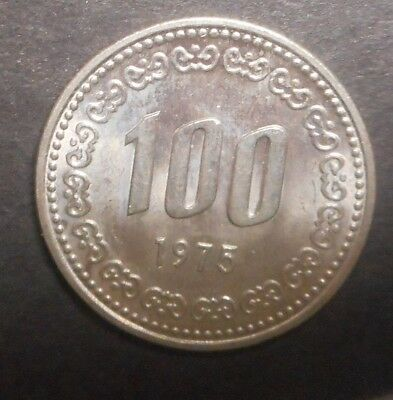 South Korea 1975 100 Won  coin Nice UNC