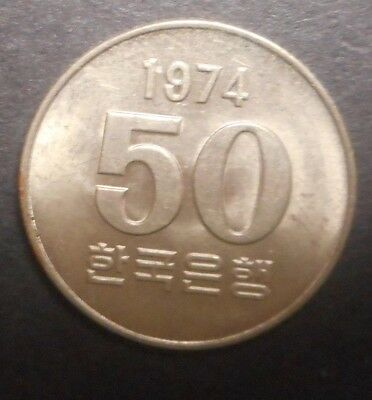 South Korea 1974 50 Won  coin Nice UNC