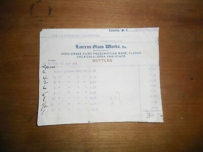 1911 Pharmaceutical Invoice Laurens Glass Workd South Carolina Flasks Coca Cola