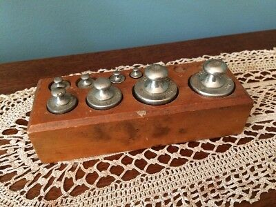 Swedish Antique Pharmacy Weights In Wood Stand Steel/ Wood Quality