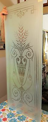 Two (2) Victorian Era Acid Etched (Frosted) Glass Door Panels
