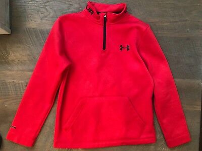 Under Armour Boys coldgear Red 1/4 Zip Long Sleeve Pullover Size: M
