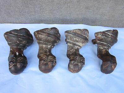 Matching Set Of 4 Cast Iron Antique Bath Tub Feet Ball Claw Foot~Marked 43