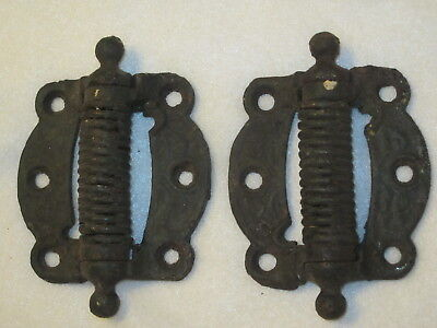 A Pair Vintage Victorian Screen Door Cast Iron Self Closing Spring Loaded Hinges