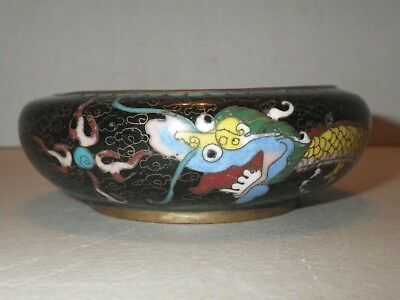 Antique Chinese Cloisonne Brass Bowl Dragon Bowl Yellow Five Toed Dragon