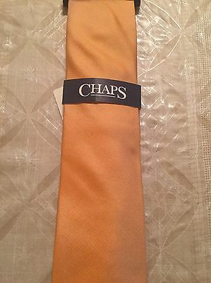 NWT Men's Chaps Orange Mason Solid 100% Silk Tie New