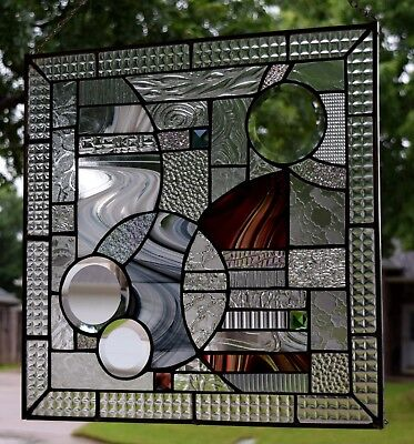 Study In Clear Contemporary Stained Glass Window Panel With Jewels and Bevels