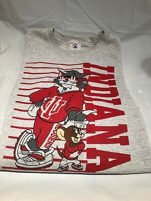 Vintage Tom and Jerry 90's Indiana University Hoosiers Cartoon Sweatshirt RARE!