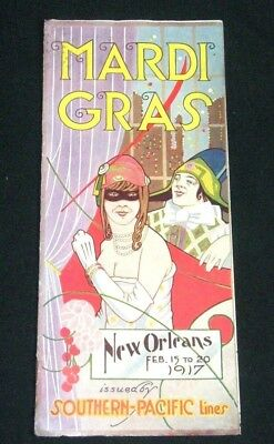Southern Pacific Lines Railroad Mardi Gras New Orleans 1917 Advertising Brochure