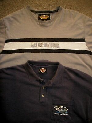 Mens Harley Davidson Cotton Polo & Long Sleeve Tee Shirt Size Xl