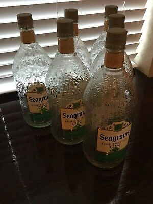 LOT OF 6 EMPTY SEAGRAMS GIN GLASS LIQUOR BOTTLES 1.75Liter Free Shipping
