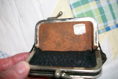 Antique Genuine Leather Coin Purse Black 2 Compartments 1900s- New old Stock