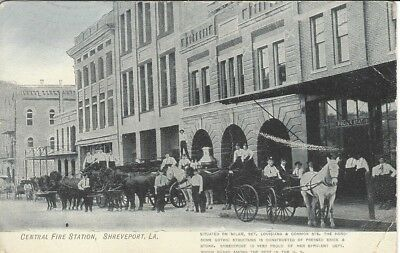 Early View of Central Fire Station, Shreveport La with horse drawn fire engines