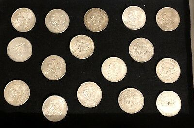 16 Unc Large 1968 Mexico .720 Silver 25 Peso Coins,  Xix Summer Olympics, Luster