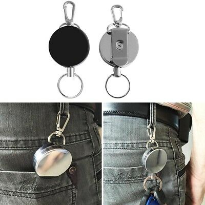2X Metal Reel KeyChains ID Badge Holder Retractable Circle Key Ring Heavy Duty